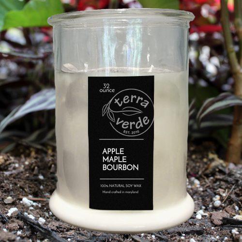 32 oz Mason Jar Soy Candle - Apple Maple Bourbon - Terra Verde Soy